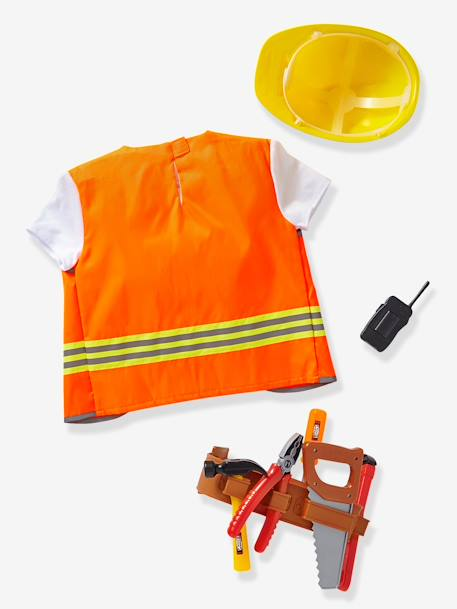 Builder's Costume with Accessories ORANGE MEDIUM SOLID WITH DESIG