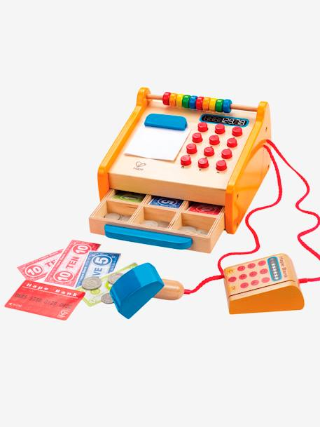 Wooden Cash Till, by Hape RED DARK SOLID WITH DESIGN