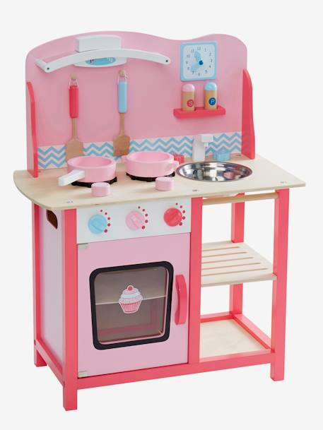 Wooden Play Kitchenette Pink