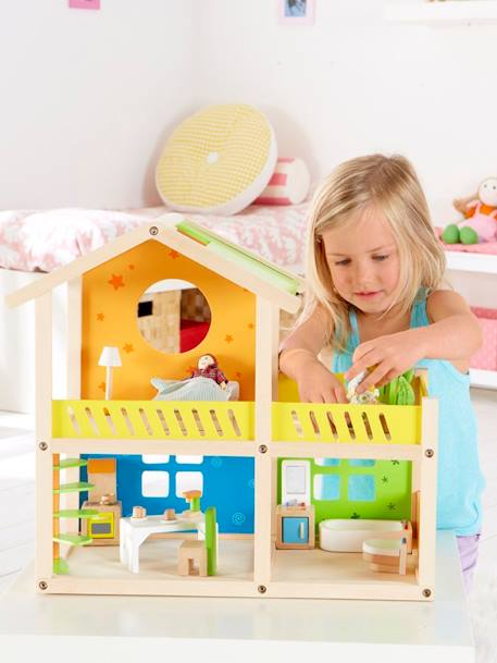 HAPE Wooden House ORANGE MEDIUM SOLID WITH DESIG
