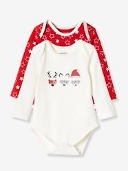 Christmas-Pack of 2 Long-Sleeved Christmas Bodysuits, in Stretch Cotton