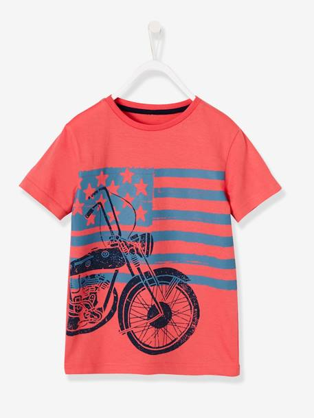 Boys' T-Shirt with Motorbike Print ORANGE BRIGHT SOLID WITH DESIG