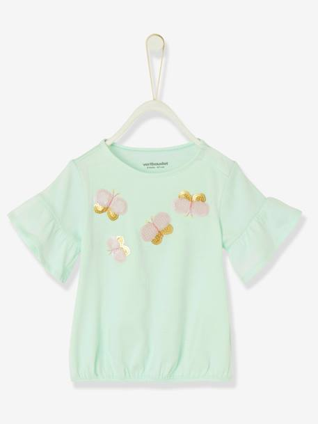 Baby Girls' Top Butterfly and Sequins GREEN LIGHT SOLID WITH DESIGN