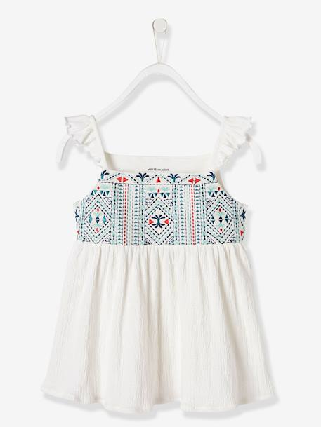 Girls' Embroidered Top GREEN LIGHT SOLID WITH DESIGN+WHITE LIGHT SOLID WITH DESIGN