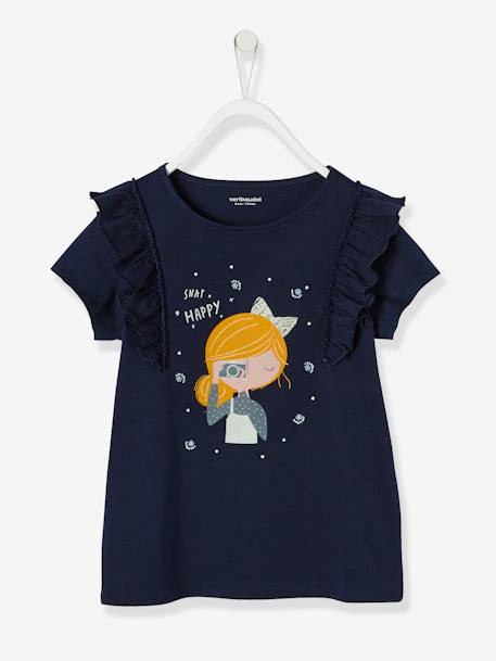 Girls' Long-Sleeved T-shirt with Frills BLUE DARK SOLID WITH DESIGN+WHITE LIGHT SOLID WITH DESIGN
