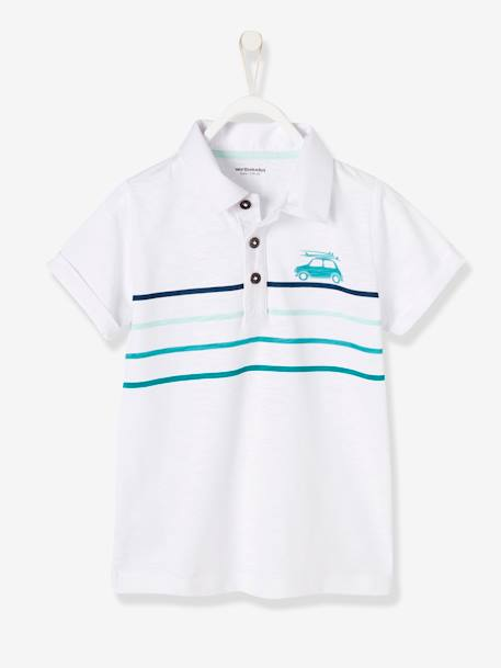 Boys' Polo Shirt with Waves BLUE MEDIUM SOLID WITH DESIGN+GREEN LIGHT SOLID WITH DESIGN+WHITE LIGHT SOLID WITH DESIGN