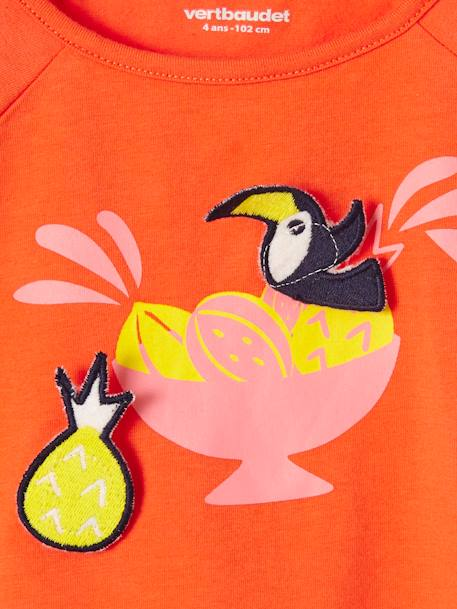 Girls' T-Shirt with Motif & Patches ORANGE BRIGHT SOLID WITH DESIG+WHITE LIGHT SOLID WITH DESIGN