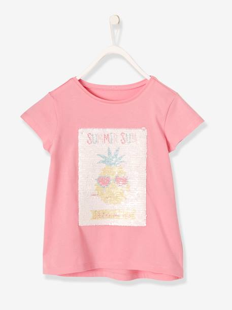 Girls' T-Shirt with Reversible Sequins PINK MEDIUM SOLID WITH DESIG+WHITE LIGHT SOLID+WHITE LIGHT SOLID WITH DESIGN