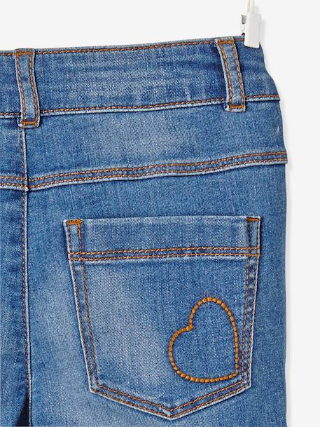 MEDIUM Fit, Girls' Slim Fit Jeans BLUE DARK WASCHED+BLUE LIGHT WASCHED
