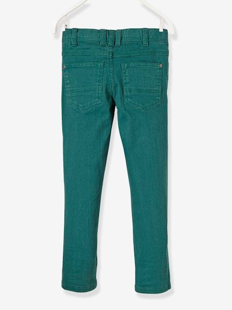 WIDE Fit - Boys' Slim Cut Trousers GREEN DARK SOLID+ORANGE LIGHT SOLID