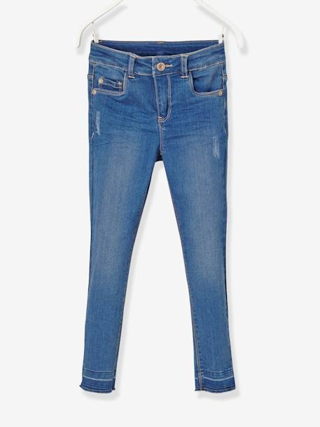 LARGE Fit, Girls' Slim Fit Jeans BLUE DARK WASCHED
