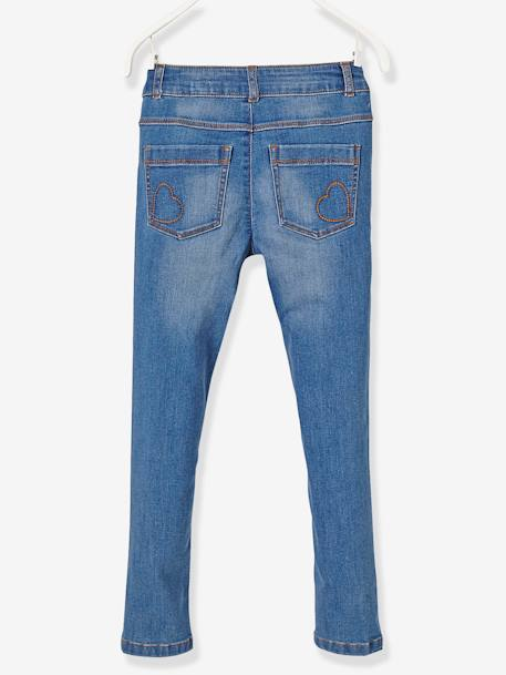 LARGE Fit, Girls' Slim Fit Jeans BLUE DARK WASCHED+BLUE LIGHT WASCHED