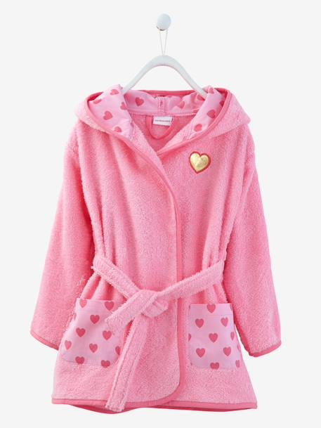 Child's Hooded Bathrobe Pink+White