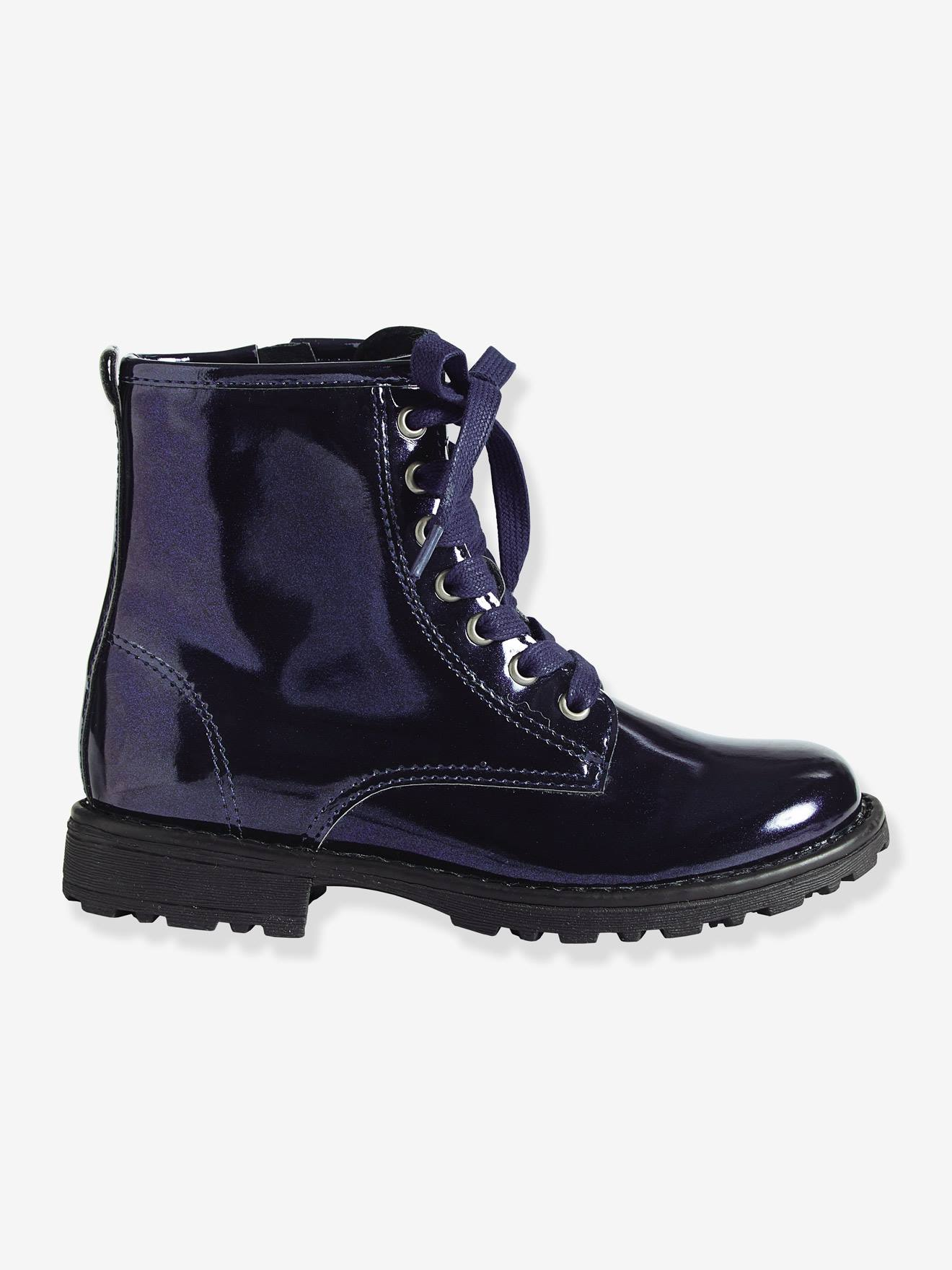Girls' Lace-Up Ankle Boots - blue dark