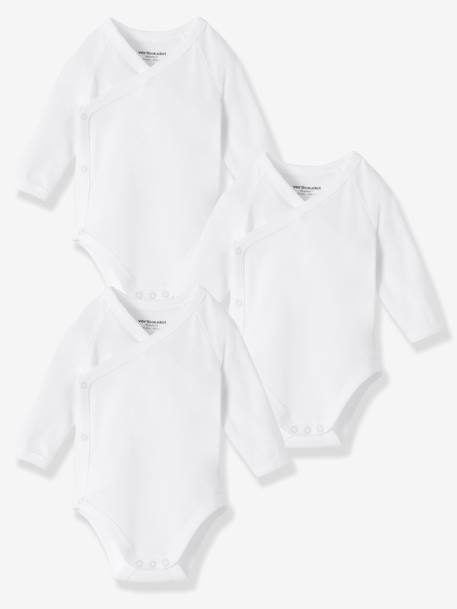 Newborn Baby Pack of 3 Organic Collection Long-Sleeved White Bodysuits White pack