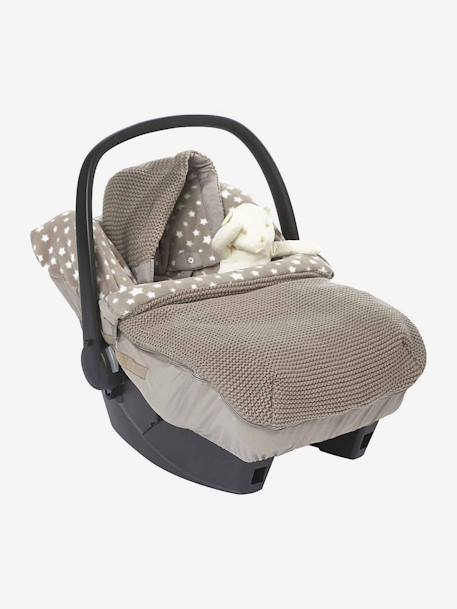 Star Printed Knit  Footmuff for Car Seats Taupe / stars