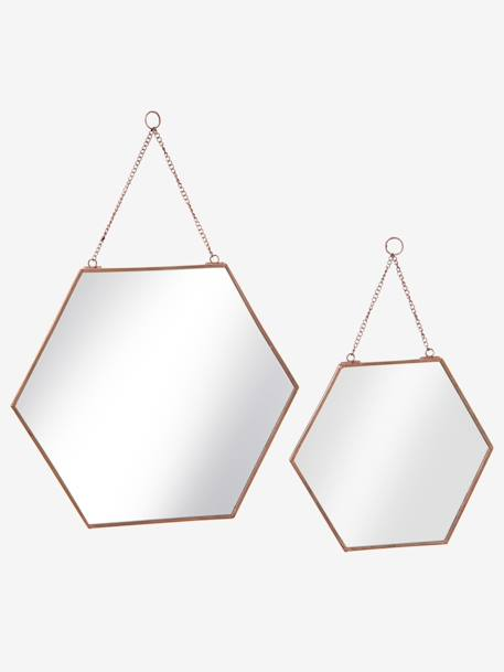 Pack of 2 Hexagonal Mirrors Copper