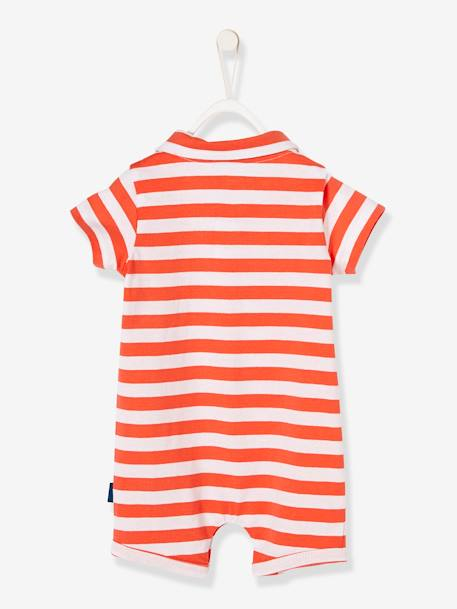 Baby Boys' Beach Playsuit with Polo Shirt Collar ORANGE BRIGHT STRIPED