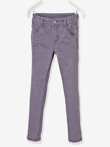 MEDIUM Fit, Girls' Slim Fit Trousers PINK LIGHT SOLID+PURPLE DARK SOLID+WHITE LIGHT ALL OVER PRINTED+YELLOW LIGHT SOLID