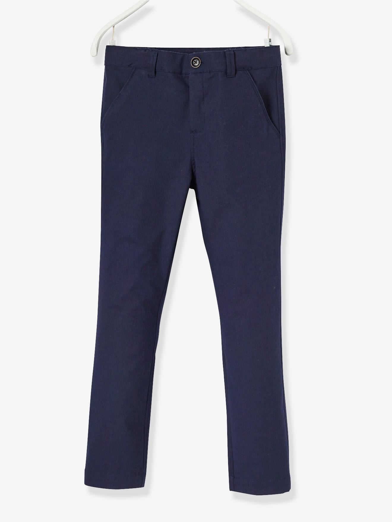 Boys' Chinos, in Cotton and Stretch Linen BLUE DARK SOLID+GREY MEDIUM SOLID