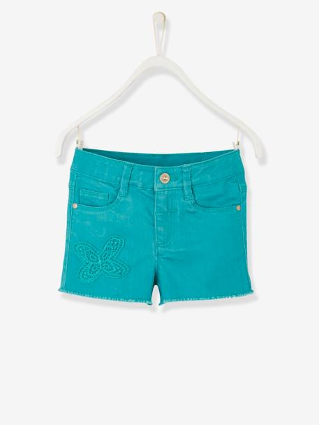 Girls' Embroidered Shorts GREEN MEDIUM SOLID WITH DESIG+ORANGE BRIGHT SOLID+PINK MEDIUM SOLID WITH DESIG+WHITE LIGHT SOLID WITH DESIGN