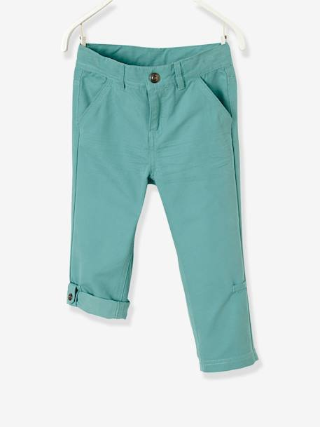 Boys' Indestructible Cropped Trousers, Convertible into Bermuda Shorts BLUE DARK SOLID+BROWN MEDIUM SOLID+GREEN DARK ALL OVER PRINTED+GREEN LIGHT SOLID