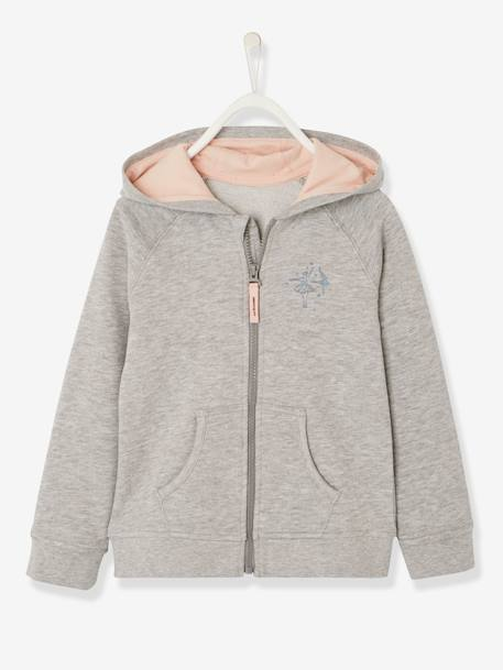 Girls' Jacket with Zip BLUE DARK SOLID WITH DESIGN+GREY LIGHT MIXED COLOR+PINK LIGHT ALL OVER PRINTED+RED LIGHT SOLID WITH DESIGN