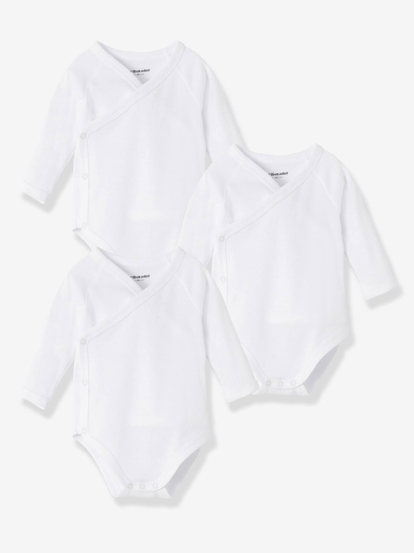 Newborn Baby Pack of 3 Long Sleeved White Bodysuits in Pure Cotton
