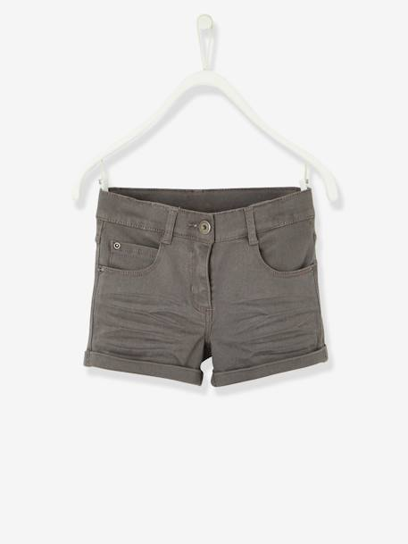 Girls' Stretch Twill Shorts BLUE MEDIUM SOLID+GREY DARK SOLID+RED LIGHT SOLID