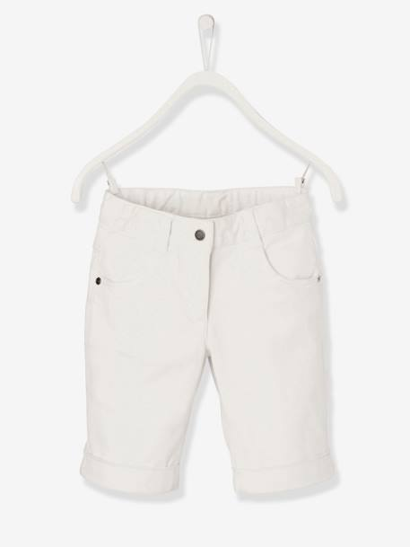 Girls' Stretch Twill Bermuda Shorts GREEN LIGHT SOLID+PINK MEDIUM SOLID+WHITE LIGHT SOLID
