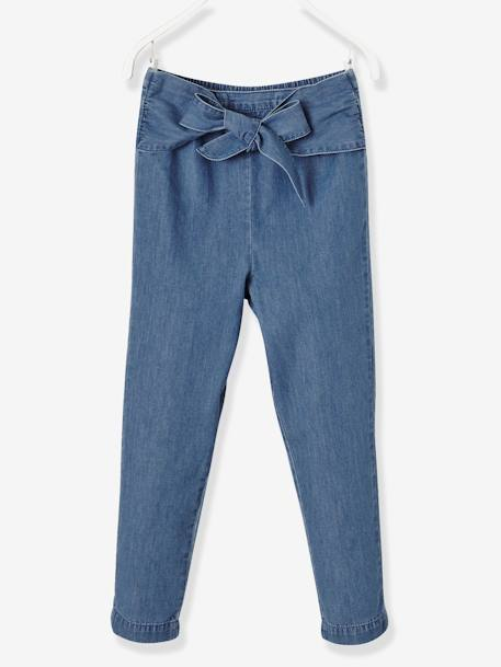 Girls' Chino Trousers in Lightweight Denim BLUE MEDIUM MIXED COLOR