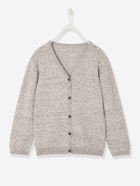 Boys' V-Neck Cardigan BLUE DARK SOLID+GREY LIGHT MIXED COLOR