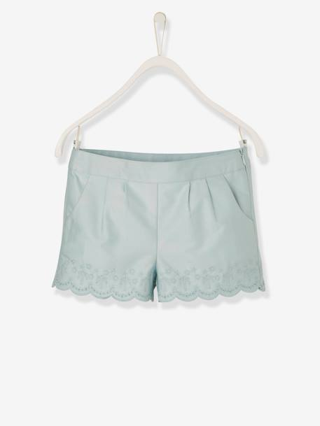 Girls' Shorts with Broderie Anglaise BLUE LIGHT SOLID