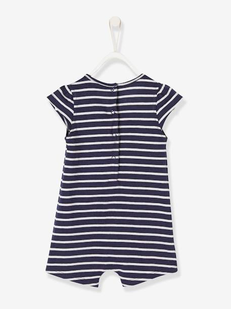 Babies' Playsuit, Beach Special BLUE DARK STRIPED+PINK LIGHT ALL OVER PRINTED