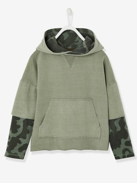 Boys' Hooded Sweatshirt, Layered Look BLUE DARK SOLID+GREEN MEDIUM SOLID