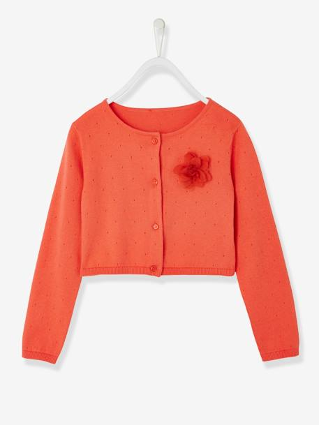 Girl's Cotton & Linen Cardigan ORANGE BRIGHT SOLID+Silver+White