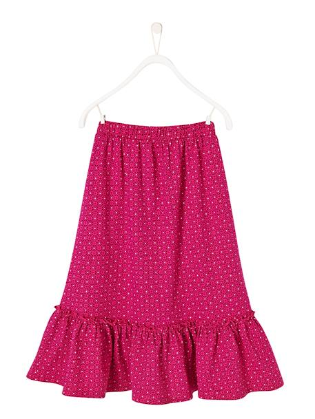 Girls' Long Skirt PINK BRIGHT ALL OVER PRINTED