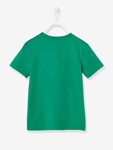Boys' T-Shirt with Wording GREEN LIGHT SOLID WITH DESIGN