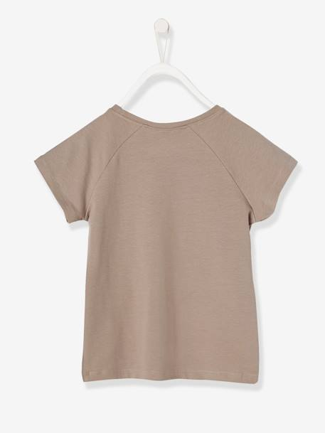 Girls' T-Shirt with Frill GREY MEDIUM SOLID WITH DESIGN+WHITE LIGHT SOLID WITH DESIGN
