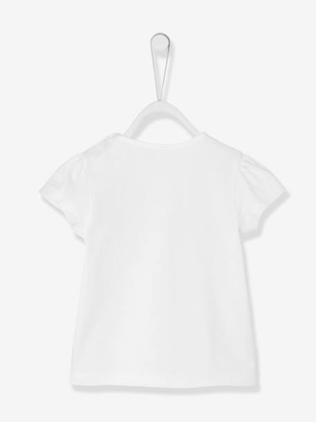 Baby Girls' Top with 3 Rabbits and Tulle WHITE LIGHT SOLID WITH DESIGN