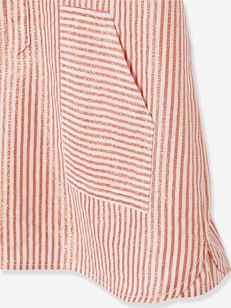 Girls' Striped Dress with Buttons PINK MEDIUM STRIPED