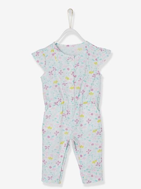 Baby Girls' Jumpsuit + Jacket + Headband Outfit BLUE LIGHT ALL OVER PRINTED