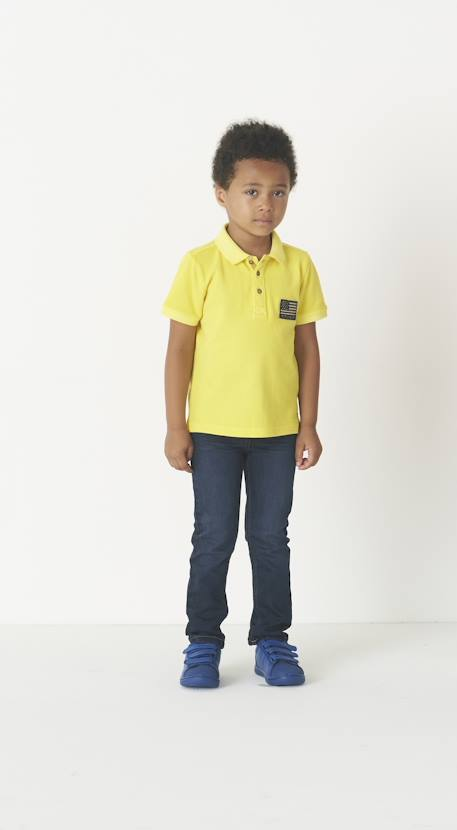 Boys' Faded-Effect Polo Shirt BLUE DARK SOLID WITH DESIGN+RED BRIGHT SOLID WITH DESIG+YELLOW MEDIUM SOLID WTH DESIGN