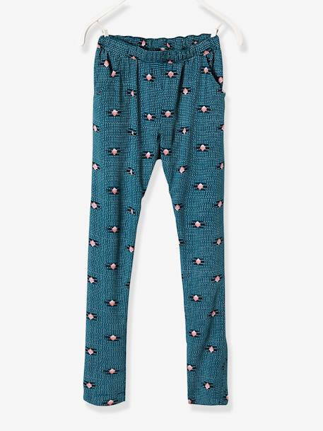 Girls' Printed, Loose-Fitting Trousers BLUE MEDIUM ALL OVER PRINTED+GREEN LIGHT ALL OVER PRINTED+PINK BRIGHT ALL OVER PRINTED+WHITE LIGHT ALL OVER PRINTED