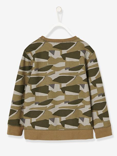 Boys' Printed Sweatshirt GREEN DARK ALL OVER PRINTED+GREEN LIGHT SOLID WITH DESIGN