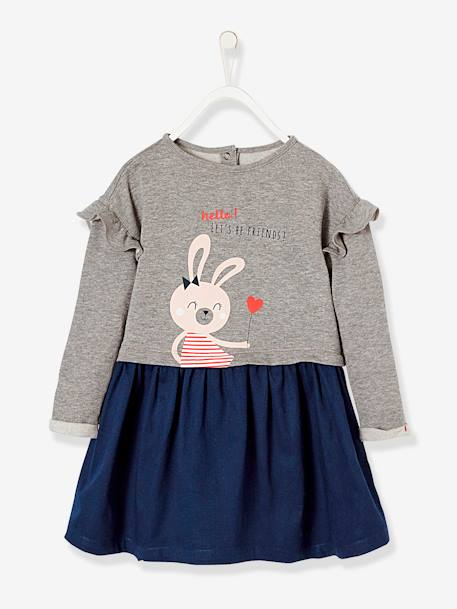 Girls' Dual Fabric Dress, Fleece and Twill GREY LIGHT MIXED COLOR
