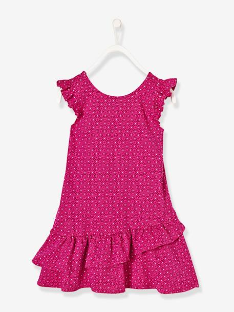 Girls' Printed Dress with Frills GREEN LIGHT ALL OVER PRINTED+PINK BRIGHT ALL OVER PRINTED