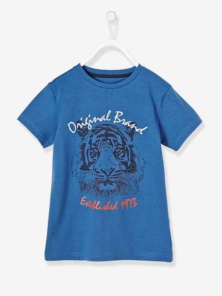 Boys' T-Shirt with Embroidered Lion BLUE MEDIUM SOLID WITH DESIGN