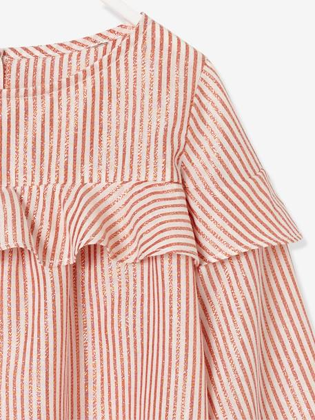 Girls' Blouse with Frills PINK MEDIUM STRIPED