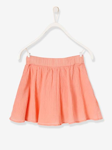 Girls' Dual Fabric Skirt PINK BRIGHT SOLID